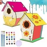 JOEYFAYE 2 cabanes d'oiseaux en Bois, Bricolage de boîtes d'oiseaux pour Filles et garçons, 2 Kits de cabanes d'oiseaux en Bois Non Fini, 2 Cordes, 4 pinceaux, 2 palettes et 4 Bandes de Peinture.