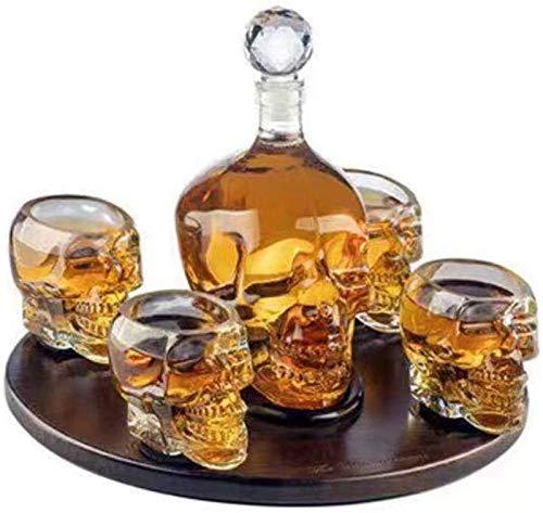 Jarra de whisky Whisky o botella de champán, Decantador de calaveras, con 4 copas de vino y base de madera, decoración para el hogar con estilo simple, para barra juntas de fiesta Regalo de whisky par