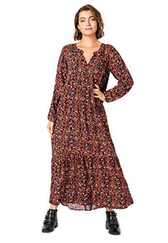 Authentic Style Kleid mit Volants,Maxi, Lange Ärmel, Kombi(millefleurs (21300)), Gr. M