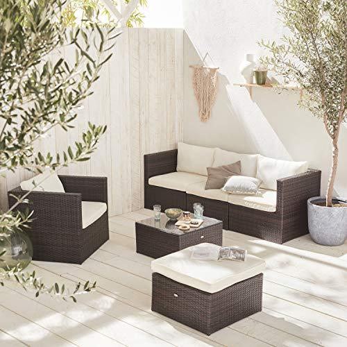 Muebles de Jardin, Conjunto Sofa de Exterior, Marron Crudo, 5 plazas - Benito