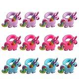 Tumao 12 Stück Einhorn Ringe Silikon Fingerring, Ring-Set für kleine Mädchen, Kinderschmuck, Mädchen Kinder Geschenkidee.