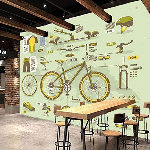 Behang voor de woonkamer, aangepaste fotobehang, retro, fiets, mountainbike, onderdelen gereedschap, achtergrondwand, behang, slaapkamer, winkelcentrum, behang, 200 x 140 cm
