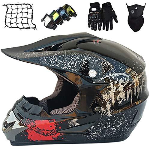 Casco Motocross, Estándares Seguridad ECE R22.05 Casco Motocicleta Todoterreno Integrales, Casco Moto de Downhill Dirt Bike MX MTB ATV, Juego de 5 Piezas Equipo Protección para Niños & Adultos