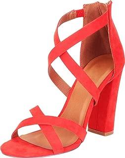 Women's Crisscross Strappy Chunky Block High Heel Sandal