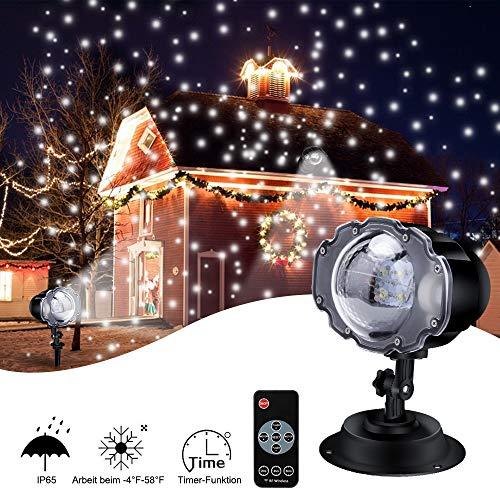LED Projektionslampe, ECOWHO 4 Modis LED Licht Projektor mit Fernbedienung & Timer IP65 wasserdicht Projektionslampe schneefall Gartenleuchte Projektor für Weihnachten Halloween außen Innen Kinder