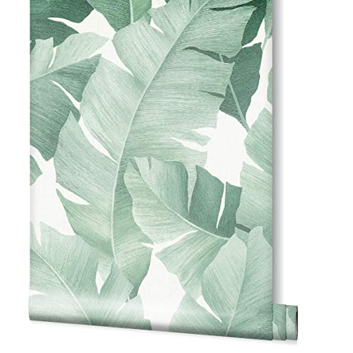 Tapete Grün Weiß Blätter Floral Pflanze Blatt Dschungel für Schlafzimmer Wohnzimmer oder Küche Made in Germany 10,05 x 0,53m Avalon 31650