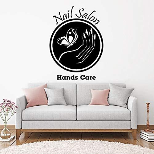 WERWN Pegatinas de Pared para salón de uñas con Logo Art DIY TV Fondo Sala de Estar Ventana Vinilo decoración de Pared