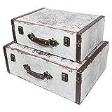 HMF 6430700 Vintage Koffer aus Holz | 2er Set | Versch. Größen | Deko Weltkarte