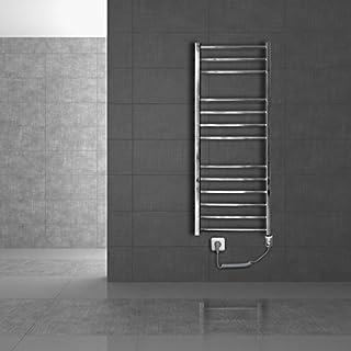 ECD Germany Radiador toallero de baño eléctrico - 400 x 1800mm - Cromado - Radiador calentador y secador de toalla - Radiador de pared - Radiador calefactor de baño - Elemento calefactor de 900W
