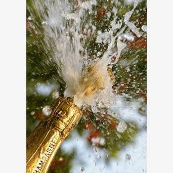 Kunst und Bild Glückwunschkarte mit Umschlag überschäumender Sekt Champagne Plopp