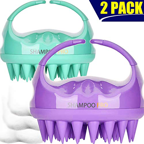 Shampoo Brush, 2 Pack Hair Scalp Massager Shampoo Brush [ 2020 Upgraded Version ] with Easy Handle for Women, Men, Kids, Wife, Girlfriend, Daughter, Pet Dogs (Natural Green, Noble Purple)