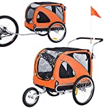 Dog Bike Trailer - Durable Frame - Easy to Connect and Disconnect to Bicycles, Safety Tether - Collapsible to Store - Medium and Large Size
