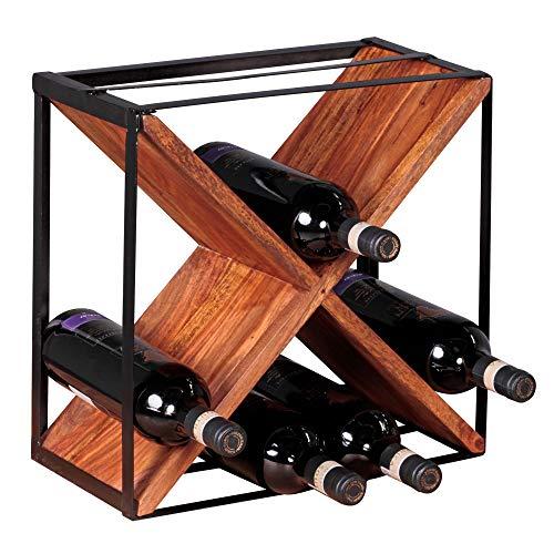 FineBuy Weinregal Sheesham Massiv-Holz Metall 37x37x20 cm klein stehend | Design Flaschenregal für die Küche | Standregal schmal für ca. 16 Flaschen