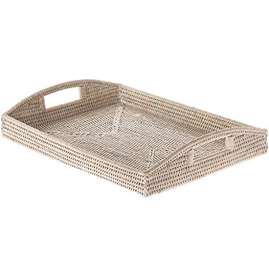 KOUBOO 1020043 La Jolla Rattan Rectangular Serving Tray, 18  x 13.5  x 3.5 , White Wash