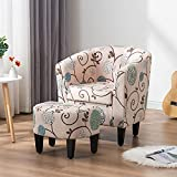 MELLCOM Mid Century Modern Accent Chair with Ottoman Foot Rest, Upholstered Modern Barrel Chair Club Chair, Comfy Fabric Armchair for Living Room, Reading Room, Bedroom, Beige Floral