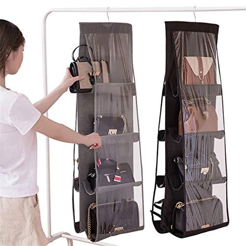 GHTYU Handtaschen-Organizer zum Aufhängen, 2 Stück, atmungsaktiv, Vliesstoff, Handtaschen-Organizer, 8 leicht zugängliche transparente Vinyl-Taschen, Hängeaufbewahrungstasche