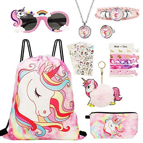 Hifot Borsa Unicorno Bambina, 18 PCS Unicorno Regali per Ragazze, Zaino con Un Cordoncino Unicorno Borsa per Trucco, Festa Collana Anello Braccialetto