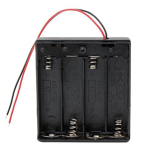 KEESIN AA 6V Custodia per batteria custodia in plastica con interruttore ON / OFF e cavo di fissaggio Cavi (4 solts * 4 pezzi)