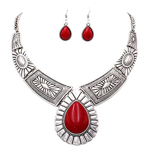 Rosemarie Collections Women's Southwest Teardrop Stone Statement Necklace Earrings Set (Red Color)