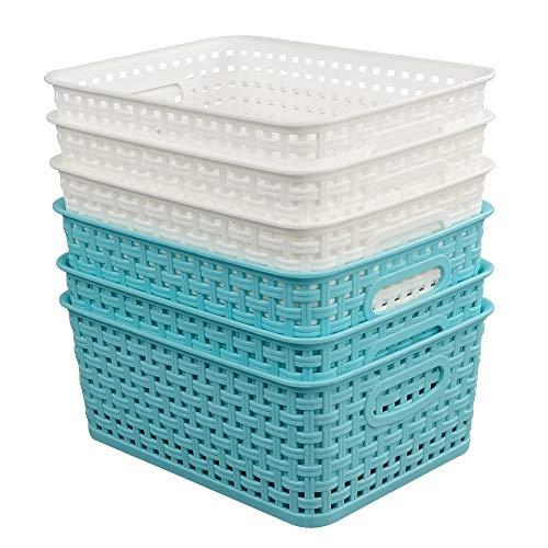 Fosly Paquete de 6 Cesta de Almacenamiento de Plástico Pequeña, Blanco y Azul Cesto Plastico Trenzado