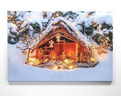 Bezauberndes Wandbild zu Weihnachten, Krippe - als großes XXL Leinwandbild 120x80cm. Ideal als Hintergrund und Dekoration für Wohnzimmer & Schlafzimmer. Aufgespannt auf 2cm Holzrahmen