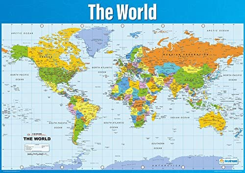 Details about  /Large Map of The World Educational Poster Print A1 A2