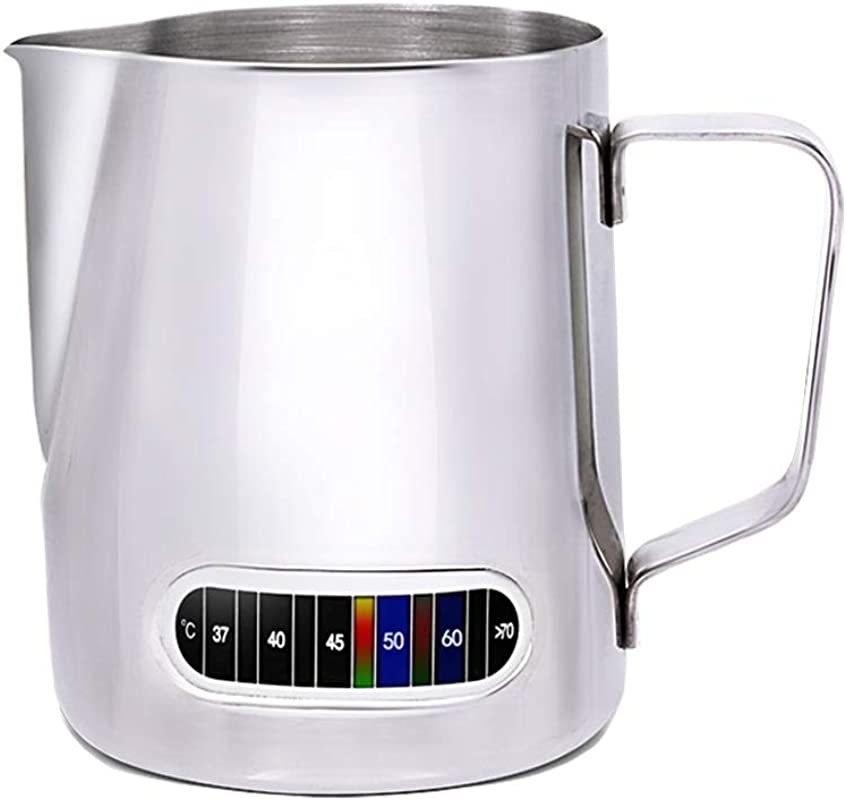 Milk Frothing Pitcher With Thermometer Stainless Steel Control Temperature Milk Frothing Pitcher Coffee Tools Cup 20 Oz 600 Ml