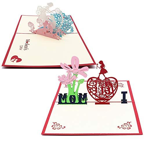 Tarjeta de Cumpleaños Para Mamá Especial Tarjeta de Felicitación Día de Madre Tarjeta 3D Tarjetas de Felicitación del Día de Acción de Gracias de Emergente 3D Pop-up Tarjeta de Agradecimiento 2 Piezas