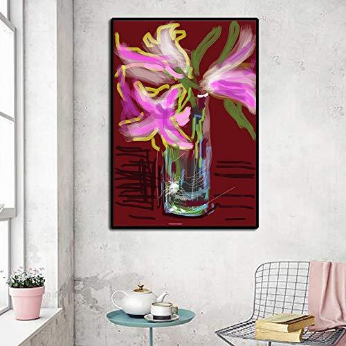 Arte clásico de David Hockney Jarrón de flores Plantas en macetas abstractas Pintura de lienzo Arte de pared moderno Impresión de póster Sala de estar Dormitorio Oficina Decoración del hogar