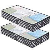 Underbed Storage Containers - 2-Pack, Underbed Storage Box for Clothing Blankets Comforters Organizer with Firm Side Walls and Reinforced Handle (Grey Lantern Pattern)