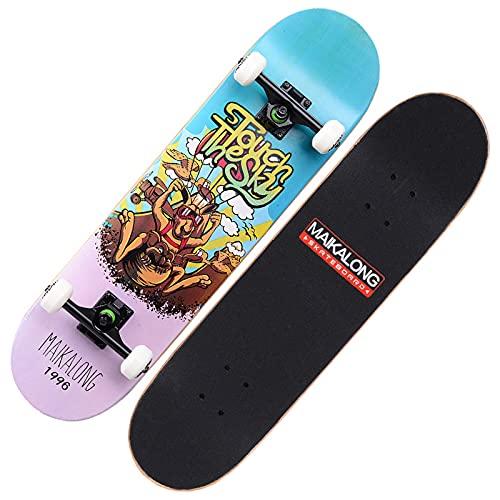 VOMI Patineta Diseño Cóncavo Tabla Skate Double Kick 7 Capas de Arce Longboards al Aire Libre Skateboards Completo 31' Monopatín Standard Trick para Adolescentes Niños Niñas Adultos,Kangaroo