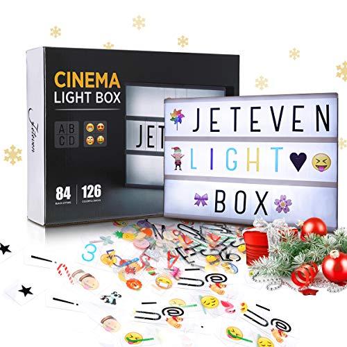 Jeteven Boîte Lumineuse avec 210 Lettres Coloris Cinéma Boîte Lumineuse A4 Enseigne Lumineuse LED avec 210 Lettres et Symboles Décoration Chambre Mariage Fête (Blanc)