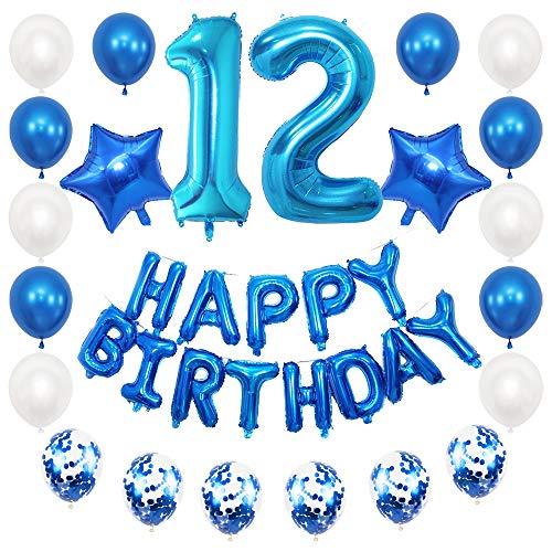 JKJF 12 globos de decoración de cumpleaños para niños, color azul