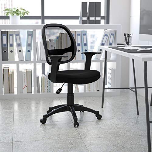 balt office chair ergonomics Flash Furniture Mid-Back Black Mesh Swivel Ergonomic Task Office Chair with T-Arms - Desk Chair