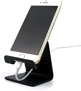 Desk Cell Phone Stand Holder - ToBeoneer Aluminum Desktop Solid Universal Desk Stand for All Mobile Smart Phone Tablet Huawei iPhone X 8 7 6 Plus 5 Ipad 3 4 Ipad Mini Samsung Home Office Decor (Black)