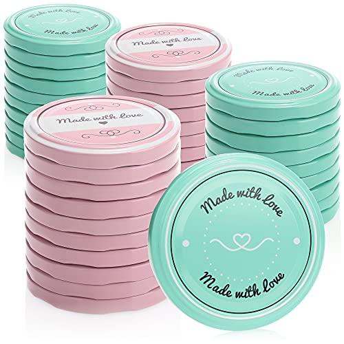 COM-FOUR® 40x Couvercles de rechange pour pots à confiture'Made with Love' - Couvercles à vis pour des pots yaourt ou des pots en verre - TO 82 mm (40 pièces)