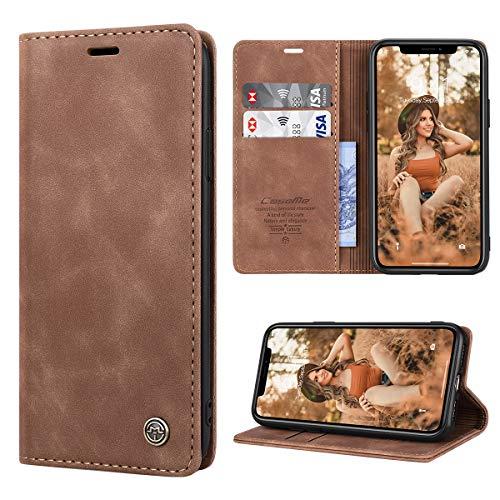 RuiPower para Funda iPhone 11 con Tapa Funda iPhone 11 Libro Fundas de Cuero PU Premium Magnético Tarjetero y Suporte Silicona Carcasa iPhone 11 (6.1'') - Marrón
