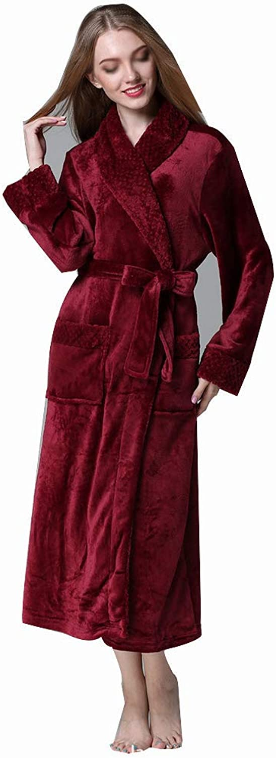 HONGLIAN Couple Bathrobes Autumn and Winter Flannel Bathrobe Thickening Large Size Coral Velvet Robe Long Hotel Bathrobe HONGLIAN (color   RED, Size   XL)
