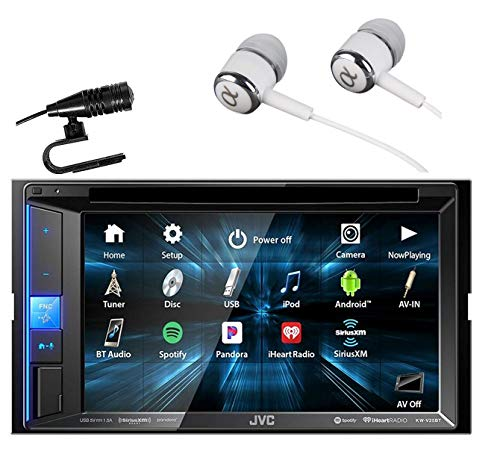 JVC KW-V25BT 6 .2' Touchscreen Double DIN in-Dash Bluetooth CD/DVD AM/FM Digital Media, Front and Rear USB Input,Pandora,Spotify and iHeartRadio Control Car Stereo Receiver with ALPHASONIK Earbuds