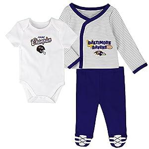Outerstuff NFL Newborn Future Champ 3 Piece Onesie, Shirt and Pants Set, Baltimore Ravens, Rave Purple, 3 Months