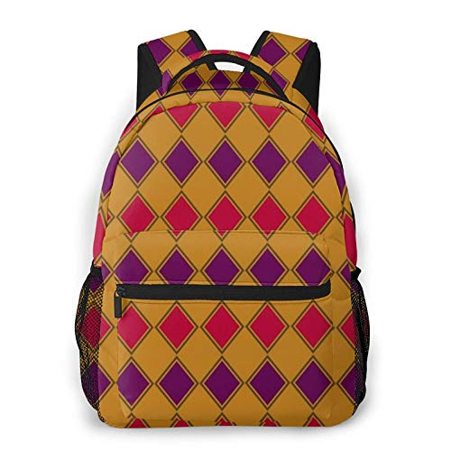 Gold Purple And Coral Harlequin Backpack Men'S And Women'S Daypack Casual Bookbag Girls And Boys Best Schoolbag