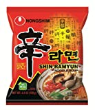 Nong Shim Shin Noodle Ramyun, Gourmet Spicy Picante, 4.2-Ounce Packages (Pack of 20)