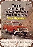 なまけ者雑貨屋 1966 Kaiser Jeep Wagoneer アメリカ ン 雑貨 メタル ブリキ 看板 アンティーク レトロ 壁飾 40x30cm
