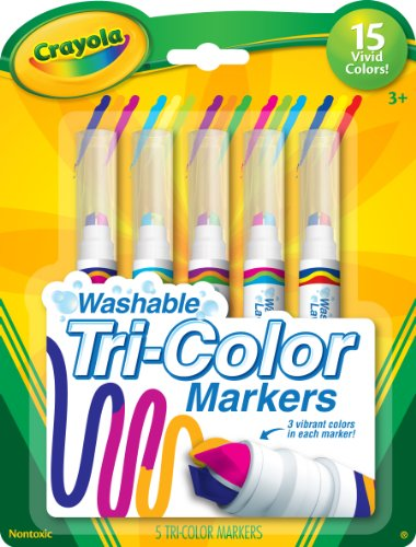 Crayola Triple Tip Markers, Washable Markers, 15 Vivid Colors, 5 Count