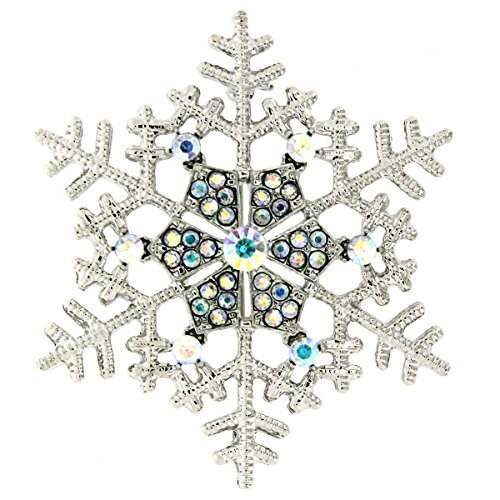 Brooches Store Silver & Crystal Christmas Snowflake Brooch - Gift