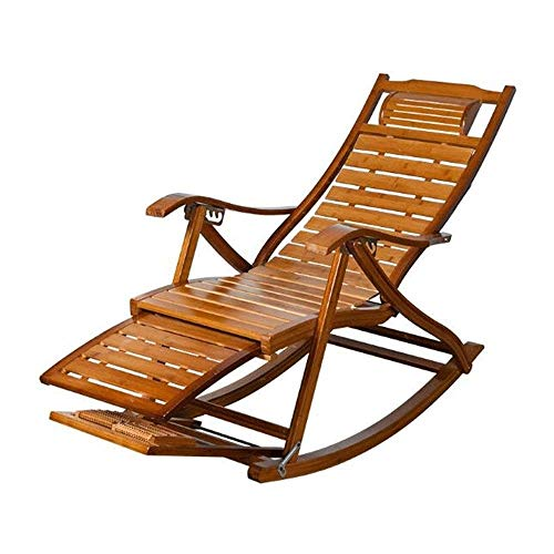 DXYSS Adult Siesta Rocking Chair Rocking Chair - Bamboo Folding Chairs Adjustable Break Chair,Lunch Break Terrace Chair Outdoor Chair,62x97cm