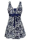Wantdo Traje de Baño 1 Pieza para Mujer Monokini Estampado Floral con Falda 38 Azul de mar(9007)
