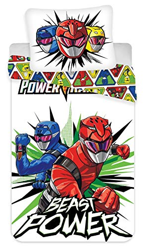 BrandMac Power Rangers Juego de ropa de cama reversible, 135 x 200 cm, 80 x 80 cm, algodón, diseño de robot