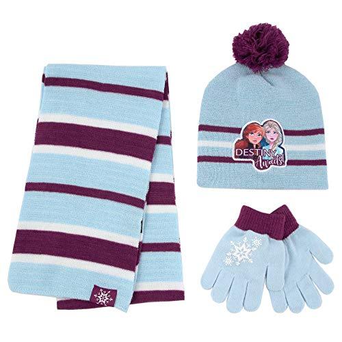 Disney Girls' Frozen 2, Elsa and Anna Kids Winter Beanie Hat, Scarf Mitten Cold Weather, Blue Glove Set-Age 4-7