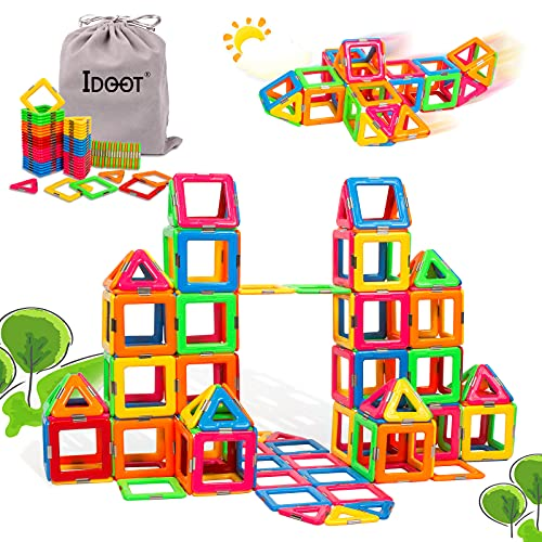 idoot Magnetic Building Blocks Magnetic Tiles for Toddlers Kids,Magnet Toys for 3+ Year Old Boys Girls,Educational Building Activities Games Gifts for Boys and Girls- 70 PCS